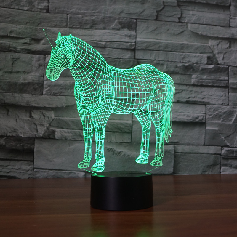 Colors Changing Unicorn horse Acrylic 3D LED Night Light USB LED Decorative Monocerus Table Lamp Baby Sleep Colorful Mood Lamp