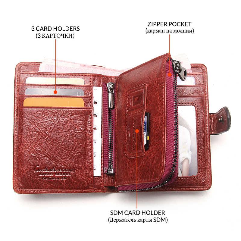 Contact's 2020 nouveau Vintage femmes portefeuilles femme en cuir véritable portefeuille femmes fermeture éclair et moraillon Design avec porte-monnaie poche