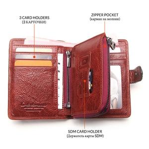Image 3 - Contacts fashion cartera pequeña de piel auténtica con cremallera para mujer, mini monedero con diseño de cerrojo, tarjetero