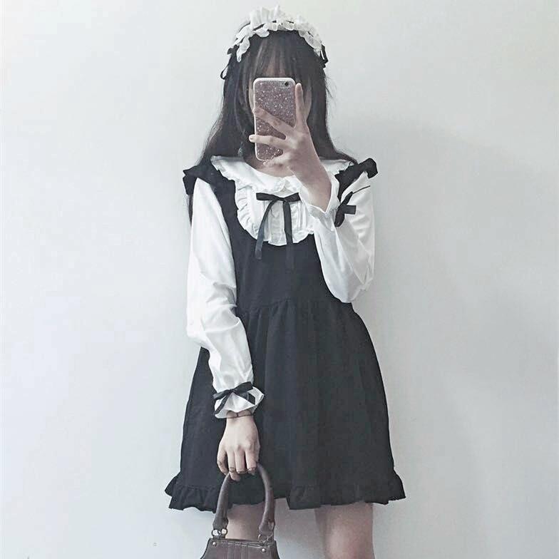 93db90ce4 KYQIAO LOLITA cosplay trajes mori chicas otoño primavera estilo japonés  kawaii manga larga peter pan collar vestido negro blanco
