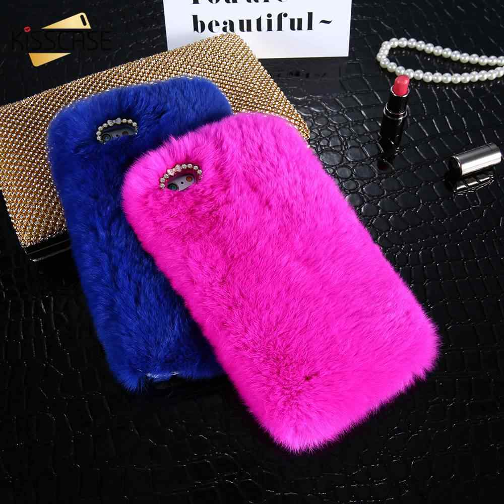super popular da349 af26f KISSCASE NEW Rabbit Hair Fur Cases For iPhone X 8 7 6 6S Plus 5 5S SE Case  For Samsung Galaxy Note 8 5 4 S7 S6 Edge Back Cover