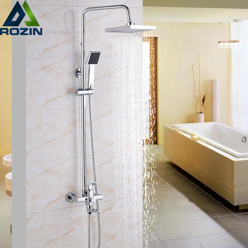 Promotion Wall Mounted Bath Shower Faucets Set Chrome Square 8 Rainfall Plastic Top Spray Head Shower