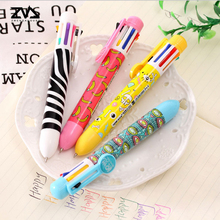 1 pcs multi-function 8 color Kawaii Ballpoint Pen For Writing School Supplies Office Accessories Stationary Kids Student Gift 1 pcs 6in1 ballpoint pen multi color ball pen korean stationary marking pens office school supplies