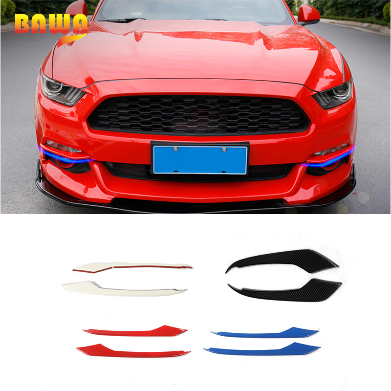 HANGUP 4 Color ABS Car Front Fog Light Eyelid Decoration Cover Trim Stickers For Ford Mustang 2015 Up Car Styling цена