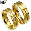 Hip 6mm 316l titanium aço inoxidável polido banhado cúbicos de zircônia anéis de noivado casamento jóias para o amante's tamanho 7-11