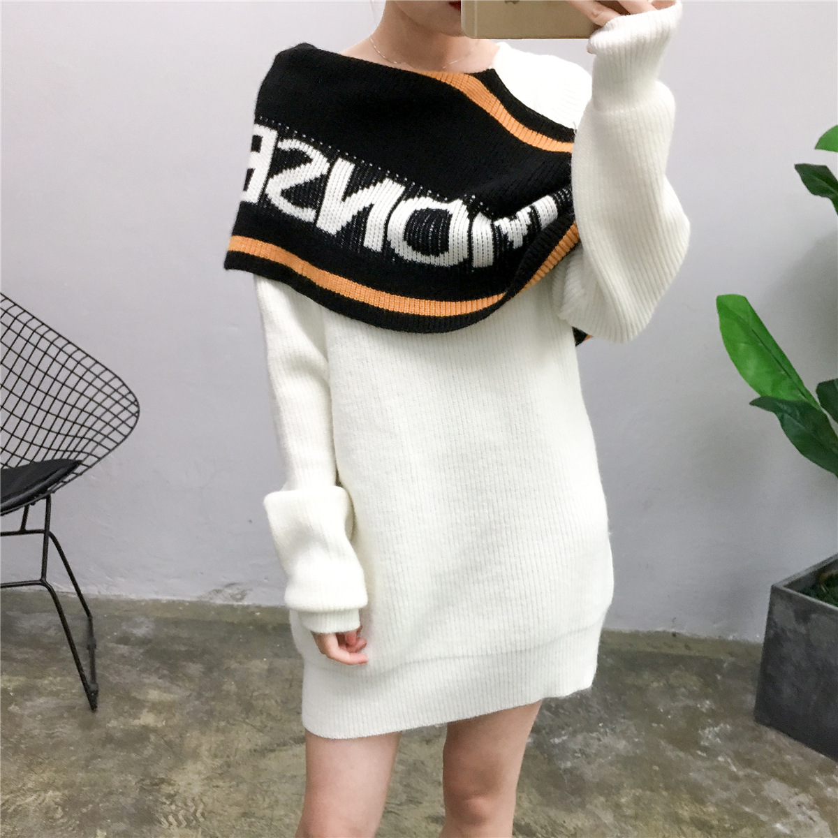 2019 Super Fire Scarf Sweater Net Red Letter Same Word Collar Long Loose Thin Knitted Sweater Women Winter Clothes Sweater women in Pullovers from Women 39 s Clothing