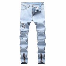 Top quality 2019 wholesale Casual Biker jeans men's jeans pale blue hole locomotive foot biker motorcycle Zipper men's jeans slimming hook button ombre biker jeans