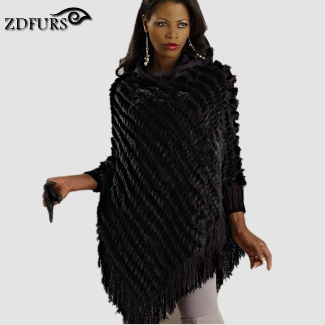 ZDFURS *  Genuine knitted rabbit fur poncho hooded with tassel handmade Europe sweater shawl  Wholesale retail ZDKR-165002