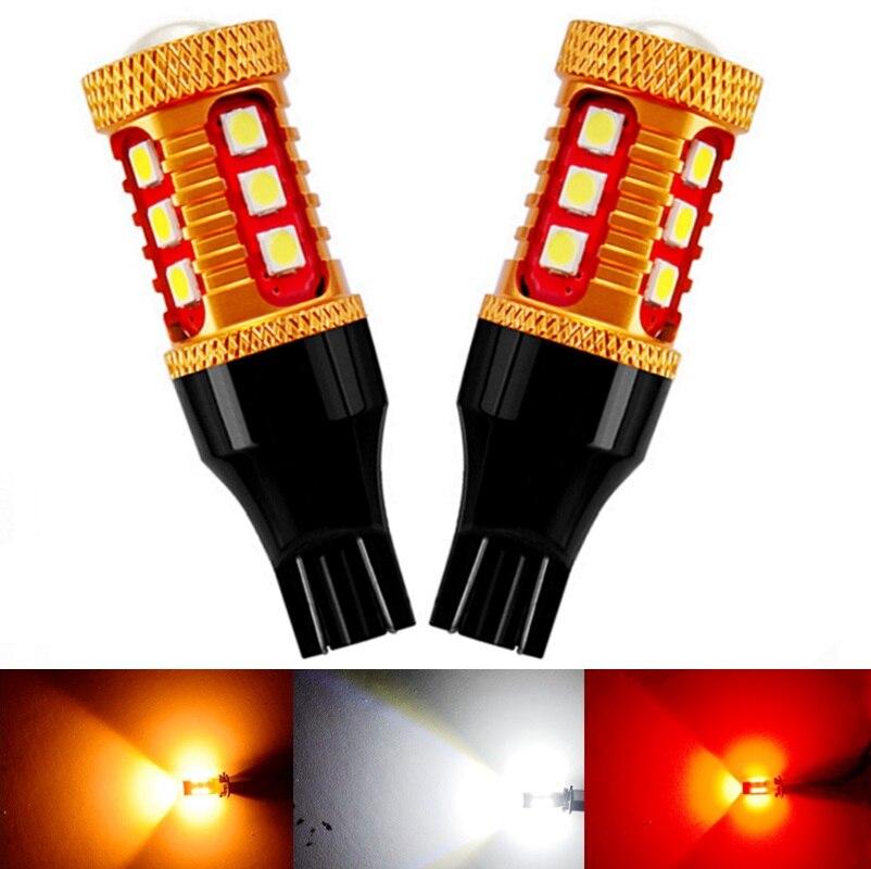 2 шт., автомобильные светодиодсветодиодный стоп-сигналы T15 921 W16W WY16W 3030 лм