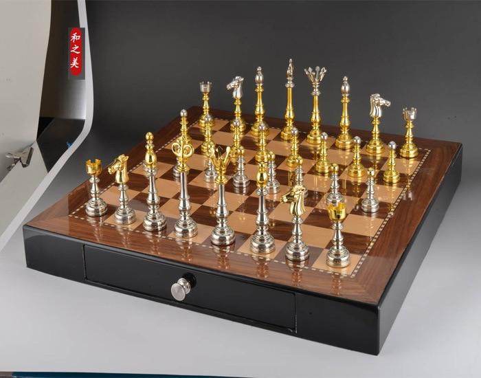Υψηλής ποιότητας σκακιέρα σετ με μη πτυσσόμενη ξύλινη σκακιέρα 50 x 50 cm μέγεθος Υψηλής ποιότητας έπιπλα διακόσμησης σκακιού Δωρεάν αποστολή