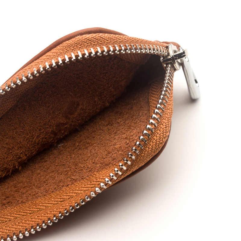 QIALINO mode Portable en cuir véritable sac étui pour Apple AirPods Simple Mini poche chargement voiture clés & Coin peau de vache couverture