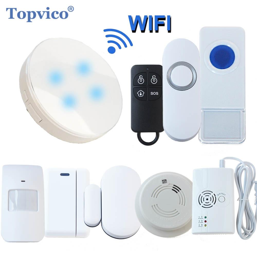 Topvico WiFi Alarm System App Control PIR Motion Sensor alarm Door / window Sensor SOS Wireless Smart Home Security Alarm System