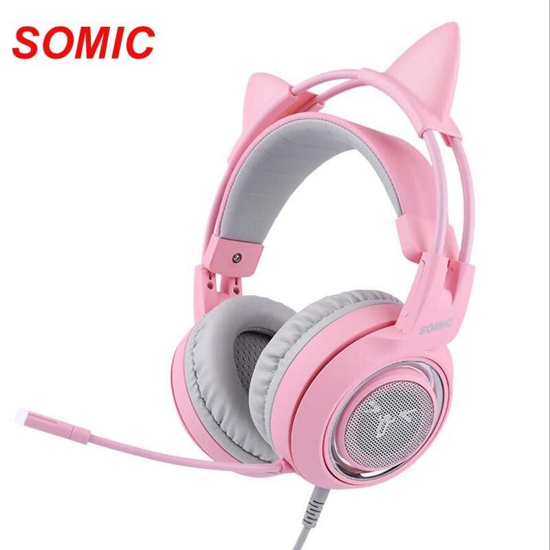 SÔMICA G951 Rosa USB Wired Gaming Headphone 7.1 Virtual com Microfone Fones de Ouvido Do Gato para PC para PS4 ENC Com Cancelamento de Ruído