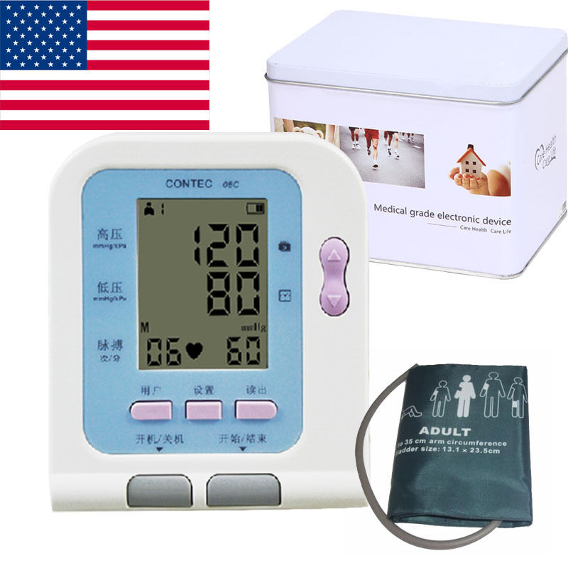 Automatic Electronic Blood Pressure Monitor CONTEC08C, Free Ship,CE FDA 2018 new ce fda digital blood pressure monitor usb software cd included contec08c bp monitor tensiometer