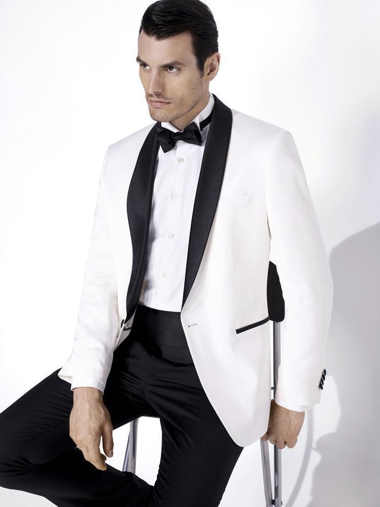 Custom Made Groom Tuxedos Shawl Satin Lapel Men's Suit One Button Groomsman/Bridegroom Wedding Suits (Jacket+Pants+Tie+Girdle)