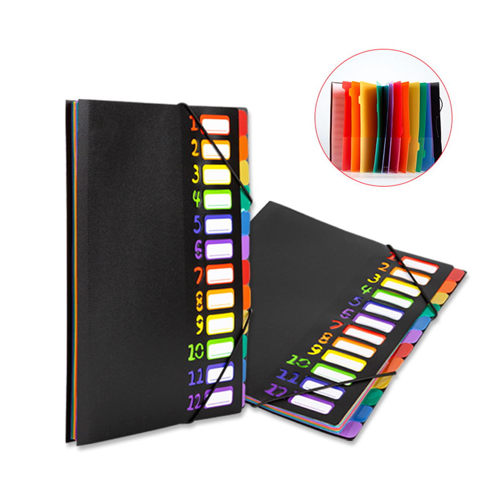 A4 & 12 Pages File Folders Rainbow Document Holder Organizer With Slash Pockets PP Material Classified Storage Folders