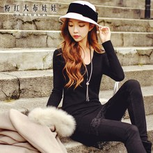 dabuwawa knit dress 2016 new korean v collar fashion lace temperament slim black sweater dresses pink doll