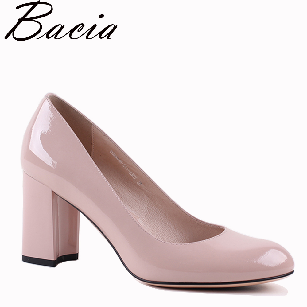 Bacia Genuine Leather shoes Women Round Head <font><b>Pumps</b></font> Sapato feminino High Heels Patent Leather Fashion Party Shoe 36-41 VXA022