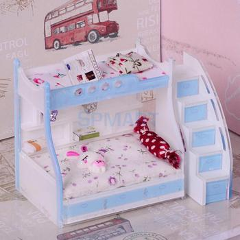¡Novedad de 1/12! Muebles de dormitorio para niños en miniatura para casa de muñecas, litera doble con accesorios de Color azul cielo