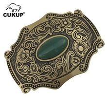 CUKUP New Design Floral Pattern Solid Brass Buckle Metal with Real Jade for 3.7-3.9cm Wide Belt Paties Buckles Only Men BRK002