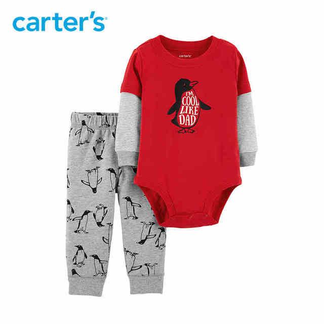 e357ea7427c Carters 2-Piece Penguin Bodysuit Pant Set Autumn winter cute long sleeve baby  boy bodysuits cotton newborn boys clothes 121I921