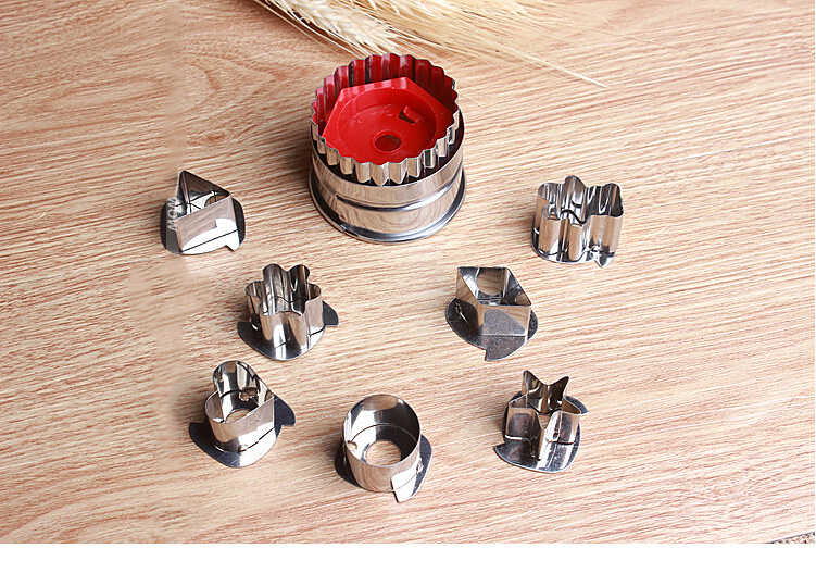 7pcs/lot Stainless Steel DIY Vegetable Fruit Cutting Tool Cookie Cutter Stencil Sandwich Embossed Mold Cake Baking Mould ELB 005