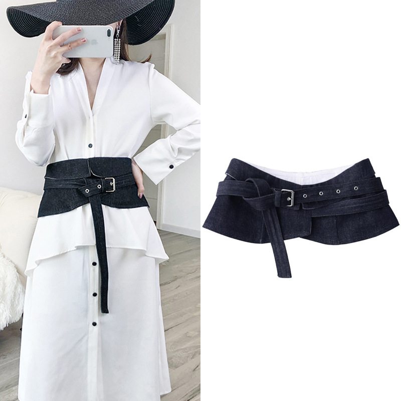 Apperloth Denim Wide Belts Female High Waist Fashion Black Jeans Women's Belt For Dresses Women's Accessories Adjustable Tide