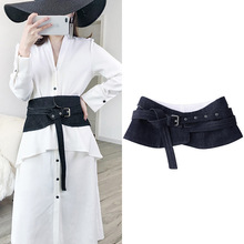 Apperloth Denim Wide Female High Waist Black Jeans Belt For Dresses Women's