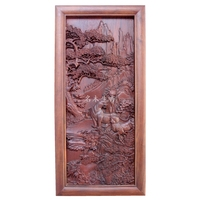 Dongyang wood carving plaque hanging boutique cross screen pendant classical Chinese pear Burma tiger background