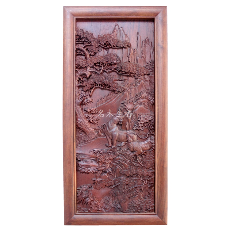 Dongyang wood carving plaque hanging boutique cross screen pendant classical Chinese pear Burma tiger background matrix биолаж скалпсинк набор ампул против выпадения волос 10х6 мл biolage scalpsync