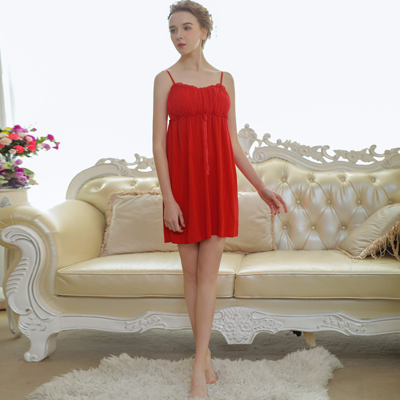 Red Jacquard Cotton Women Spaghetti Strap Slip Dress Sleepwear Lady Summer Nightdress Cinched Waist   Nightgowns     Sleepshirts   280#