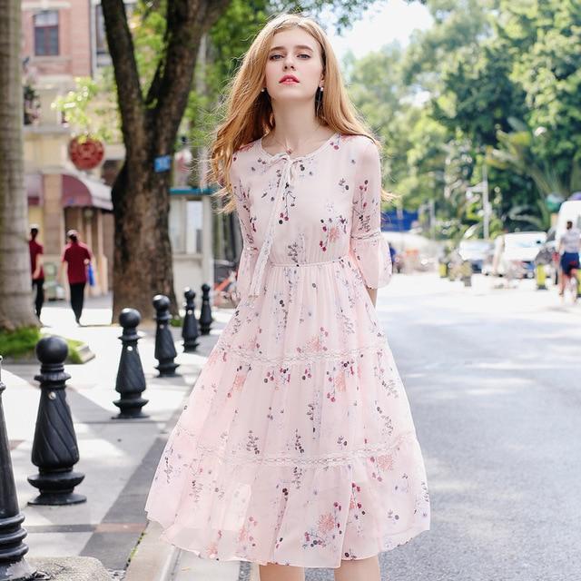 07ec90e04d HMCHIME Autumn women boutique print floral chiffon dress fashion sexy  butterfly sleeve V neck elastic waist woman dress HM570