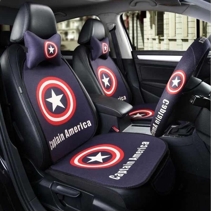 Cartoon Car Seat Protector Covers Sets Linen Four Season Headrest Neck Support Auto Seat Waist Cushion For Spiderman Batman Cat