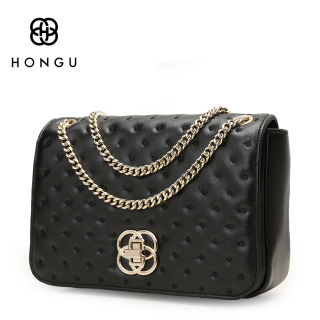 HONGU Fashion Chain Crossbody Real Cow Leather Bags Women Handbags Shoulder  Bag Polo Premium Gold Plated Metal Atmosphere Purses-in Crossbody Bags from  ...