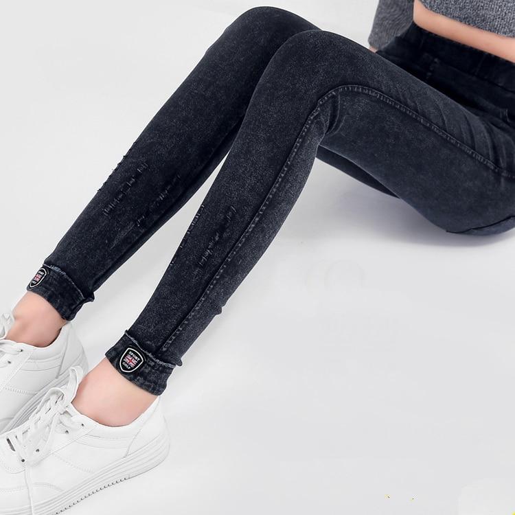 Plus Size Cotton Ripped High Waist Boyfriend   Jeans   Women`s Black High Stretch Denim Pants Mom   Jeans   Femme For Women   Jeans   D65