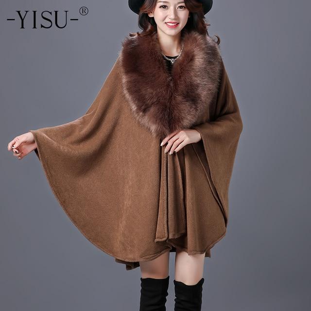 YISU סתיו החורף חדש נשים של ארוך סרוג קרדיגן סוודר אופנה מזויף שועל פרווה קשמיר צעיף קייפ מעיל פונצ 'ו נשים