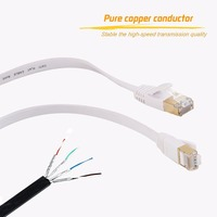 30m Cat7 Ethernet Flat Patch Network Cable, Shielded (STP) with Snagless Rj45 Connectors white color