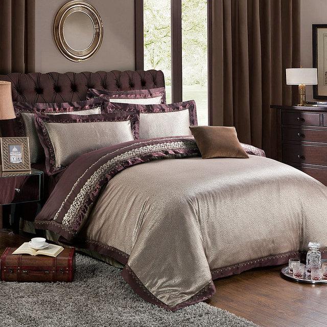 NO.12 22 4/6pcs Luxury Jacquard Damask Silk Bedding Set King Size