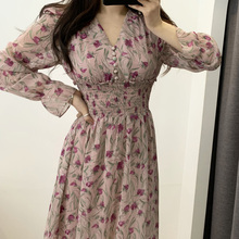 Robe à fleurs femmes robes en mousseline de soie florale Maxi Vestido plage élégant printemps rose coréen à manches longues col en v Ropa Mujer Sukienki