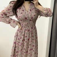 Vestido de flores para Mujer, Vestidos florales de chifón, Vestido Maxi de playa, elegante Primavera, rosa, manga larga, cuello en v, Ropa de Mujer Sukienki