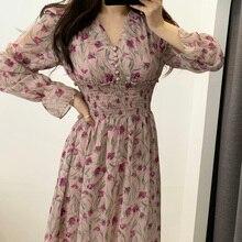 꽃 드레스 여성 꽃 쉬폰 Vestidos 맥시 Vestido 비치 우아한 봄 핑크 한국 긴 소매 v 넥 Ropa Mujer Sukienki