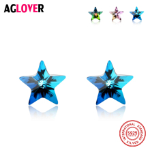 Genuine 925 Sterling Silver Stud Earrings Women Fashion Charm Colorful AAA Crystal Zircon Star Earrings Wedding Party Jewelry стоимость