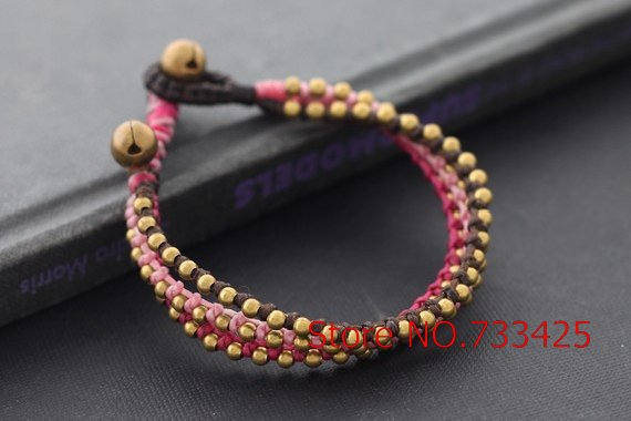 Femme Pink Knot Bracelet with dark brown waxed cord weaved,thai style brass bracelet for women,5pcs/lots free shipping