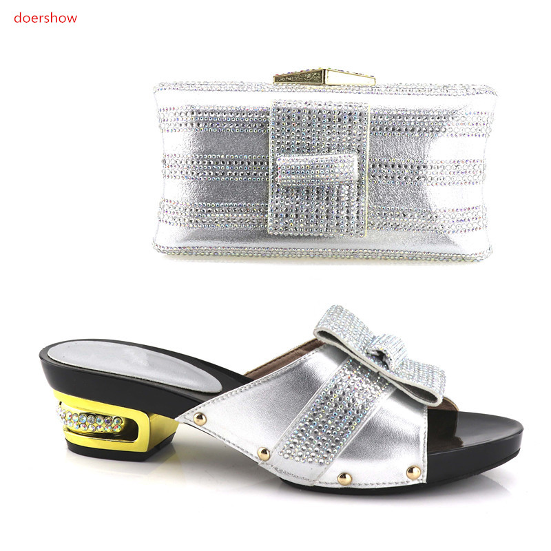 doershow newcome Italian Shoes with Matching Bags African Shoe and Bag Set for Party In Women High Quality Wedding Shoes !HV1-23 doershow italian shoe with matching bag silver african shoe and bag set new design matching shoes and bags for party bch1 7