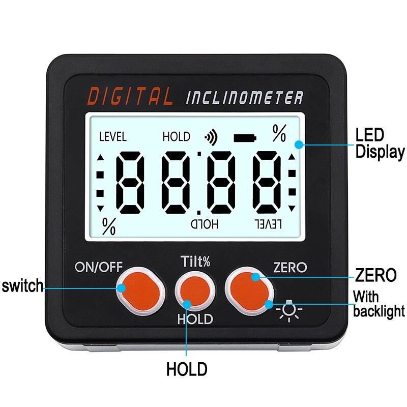 Электронный транспортир Цифровой Инклинометр 0-360 алюминиевый сплав цифровая коническая коробка измеритель углов магниты база измерительн...