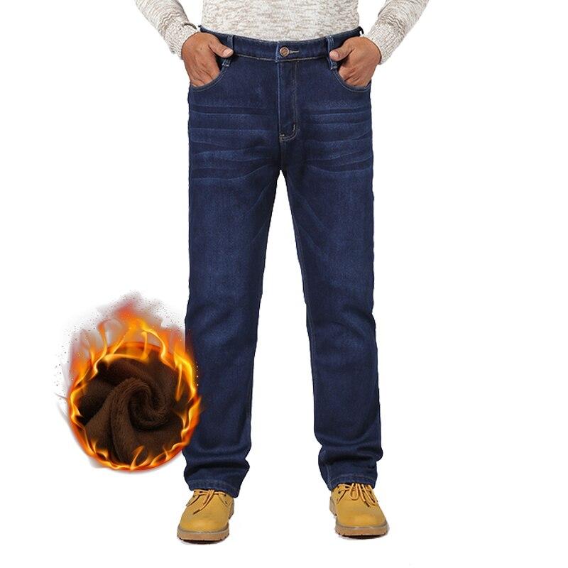 New Men's Winter Warm Stretch Fleece   Jeans   Classic Baggy Straight Overalls Denim Pants Men Fashion Brand College Trousers 2XMR22