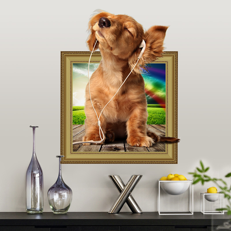 Hot DIY 3D Puppy Dog Wall Sticker PVC Backdrop Decor Home Decoration Room Decals Wall Art Wallpaper Stickers On The Wall Poster