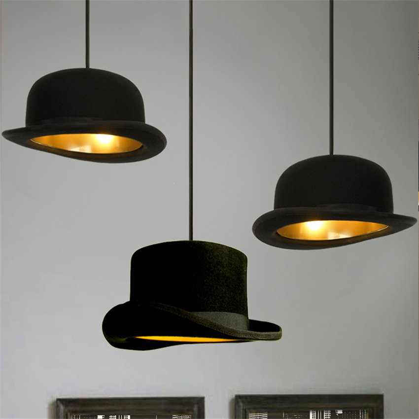 Modern Black LED E27 Pendant Lights Magician Fabric Bowler Tall Hat Pendant Lamps Lighting Clothing Store Decoration Fixtures novelty lamps design 220v 110v e27 jeeves wooster fashion bowler hat chandelier round aluminum hat residential lighting pll 102