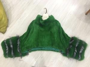 Image 5 - fashion luxury women genuine full pelt mink fur poncho with fox fur cuff 100% real fur high collar pullover shawls and wrap coat