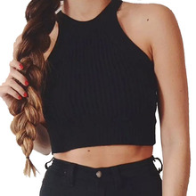 TT228 New Womens Halter Cut Away Tight Knit Crop Top Cropped Top Sleeveless Camis Tank Tops Beach Sweater Tops